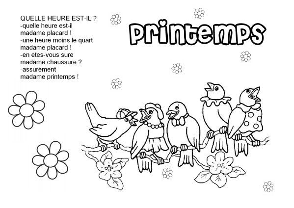 Comptines et coloriages printemps page 2 - Image du printemps a colorier ...