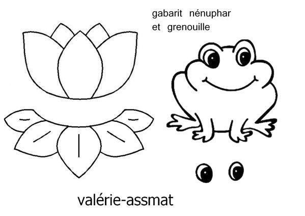Coloriage Fleur De Nenuphar.Gabarits Grenouille Et Nenuphar