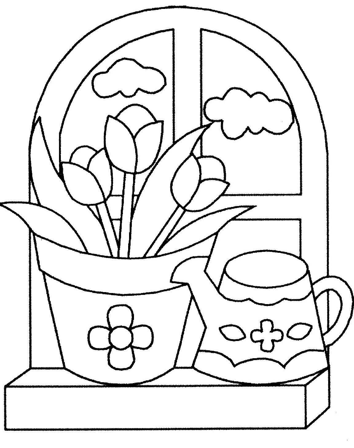 Coloriage Facile Printemps.Dessin De Fleurs De Printemps A Imprimer